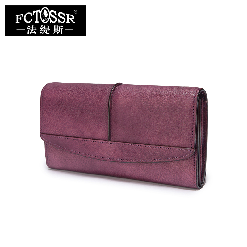 Guangzhou Genuine Leather Women's Wallets Handmade Lady Coin Purses Vintage Style Card Holder Cowhide Cell Phone Packet