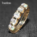 TransGems 1.25 Quilates QUILATES Laboratorio Crecido Moissanite Anillo De Bodas de Diamante Sólido 14 K Oro Amarillo Mitad Eternidad Anillo de Las Mujeres