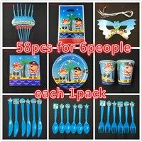 58 cái Pirate theme tấm cup mặt nạ món ăn Đặt Sinh Nhật Nguồn Cung Cấp Bên Bé Birthday Party Gói cho 6 người sử dụng