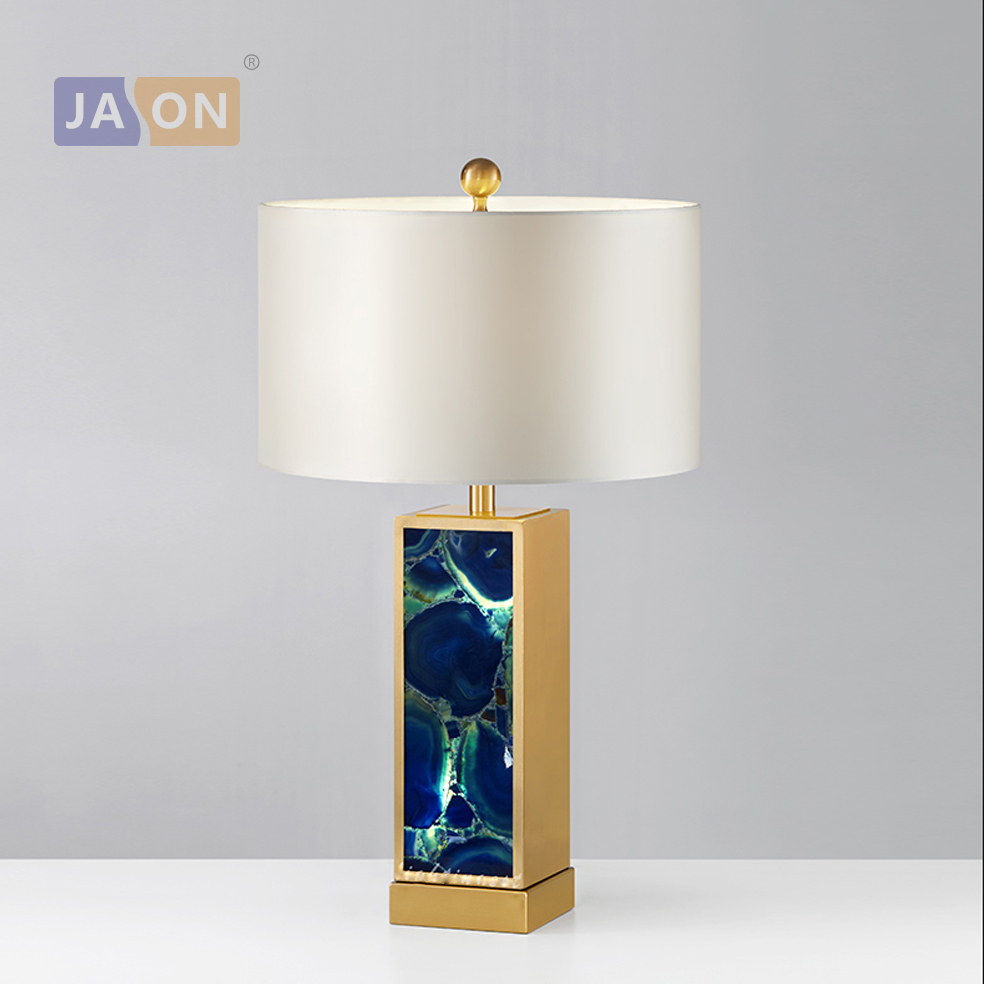 led e27 Postmodern Iron Fabric Agate Stone LED Lamp LED Light Table Light Table Lamp Desk