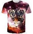 Tigre camiseta de cuello redondo camiseta imprimir mujeres / hombres de la galaxia camiseta mens casual 3d graphic t-shirt plus talla M-XXL envío gratis