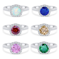 Silverwill sterling silver 1.5 carat opal engagement ring Moissanite rings gifts for women multi color big halo women's jewelry