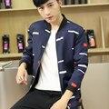 2016 New Mens Jacket Fashion Autumn Stripe Print Jacket Men Slim Fit Casual Mens Jackets  Coats Thin Coat Plus Size 3XL 4XL 5XL