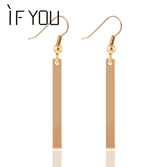 Hot Ing Simple Design Fashion Long Drop Earring Gold Color Silver Tel Dangle Earrings Jewelry