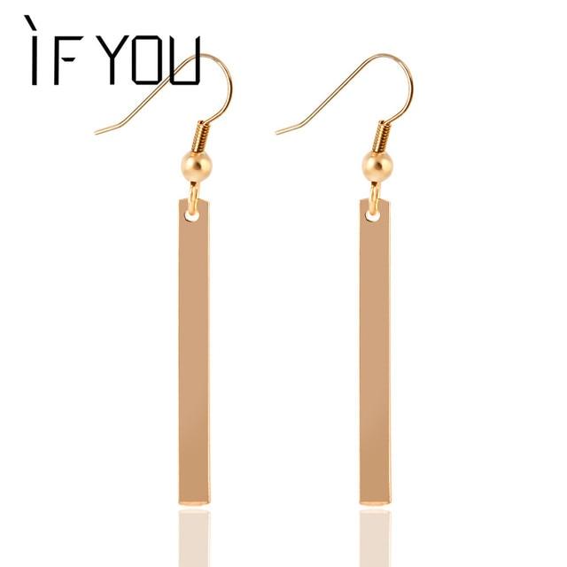 Hot Ing Simple Design Fashion Long Drop Earring Gold Color Silver Tel Dangle Earrings Jewelry