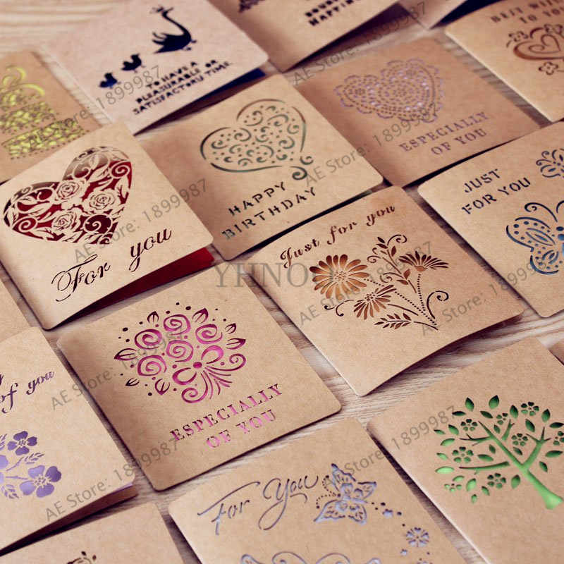 Mori hollow kraft paper cards, creative birthday festival greeting cards customized 1pcs/bag
