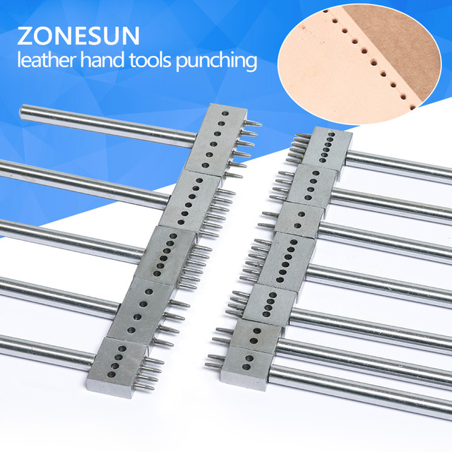 ZONESUN Punch Machine Leather hole Punching Multiple Size Optional Handheld Tool Leather Die-steel Chisel
