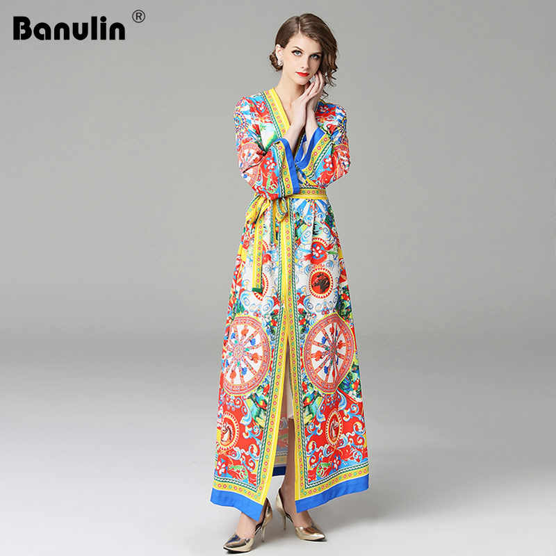f79276767a7e Banulin 2018 NEW Designer Runway Dress Women High Quality Fashion Print  Vintage Dress Autumn Casual Shirt