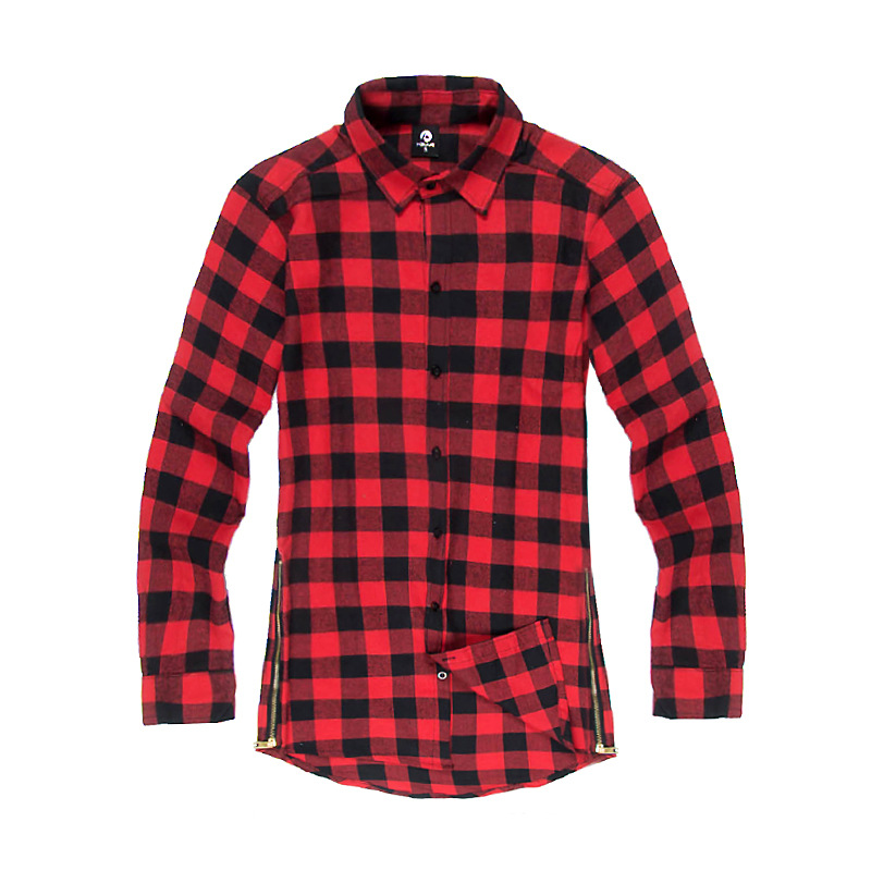 hip hop mens dress shirt plaid shirts long sleeve men