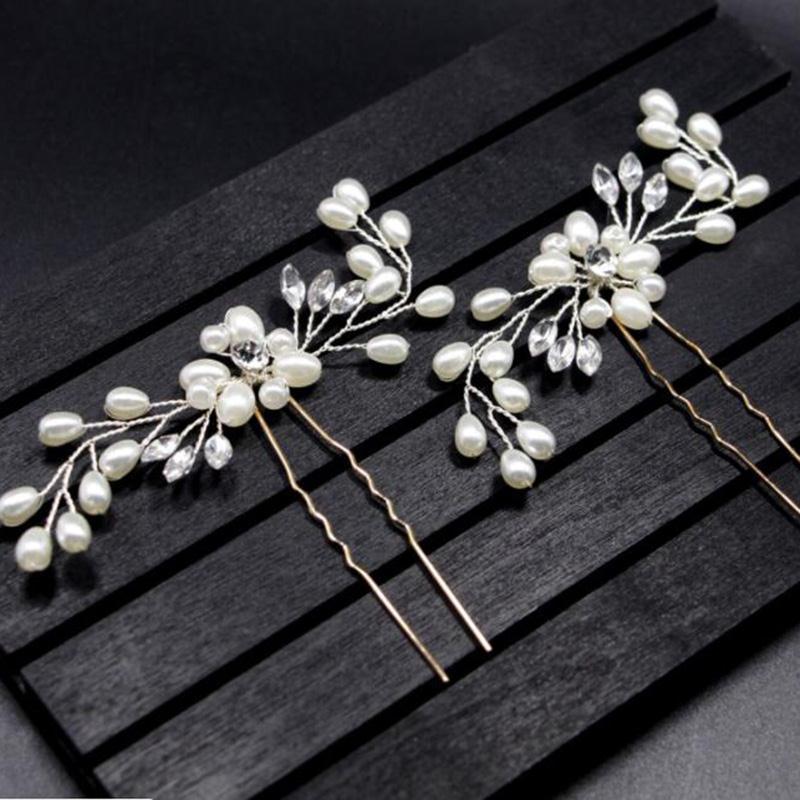 Hot Women's Bride Pearl Crystal Hairpin Pin Hand-make Access Female U-shaped Folder Wedding Headdress Fashion Chic Beautiful New