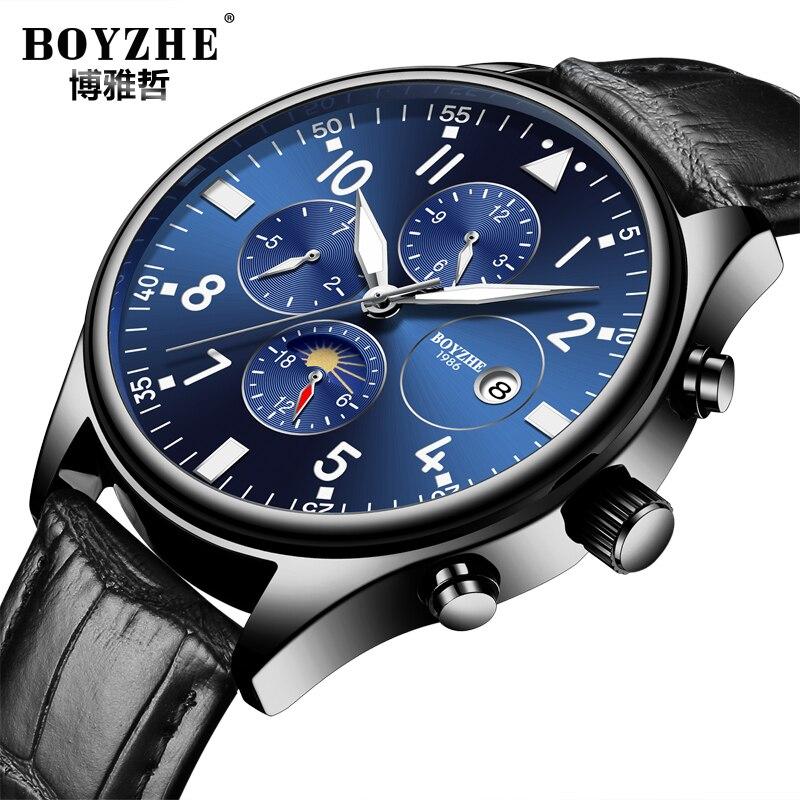 Erkek коль saati otomatik черный корпус часов PVD покрытие Темно-синие циферблат суб-набор хронограф Мода Для мужчин наручные часы автоматическая