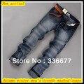 Бесплатная Доставка Осень зима мужская высокое качество, модные хлопка уменьшают подходящую промывали джинсовой/ковбойские джинсы QR-2486