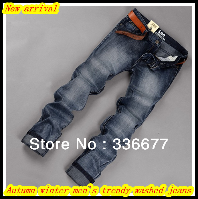 Free Shipping Autumn winter men's high quality fashion cotton slim fit washed denim/cowboy jeans QR-2486