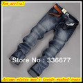 Free Shipping Autumn winter men's high quality fashion cotton slim fit washed denim/cowboy jeans QR-2486