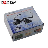 ZLIMSN Black Glasses Eye 10 15 20X 25X Jewelry Watchbands Magnifier Glasses Lens 2 LED Lights Watch Kit Tool Relojes Hombre TL01