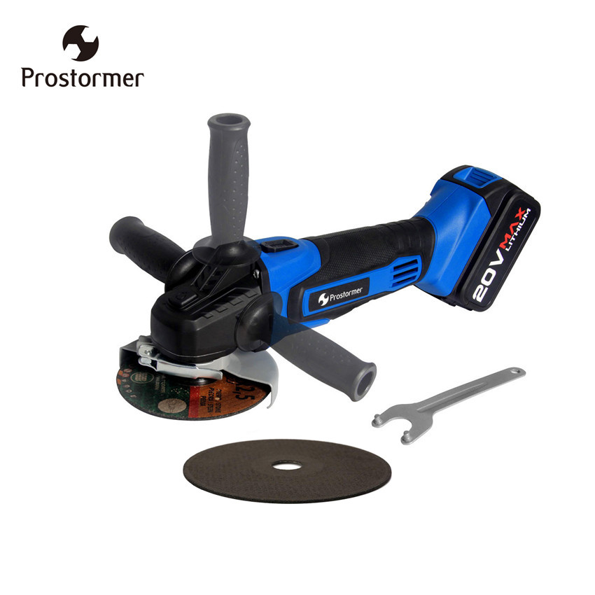 Prostormer 20V Electric Cordless Angle Grinder Lithium Battery Grinding Machine 115mm Polishing Power Tools