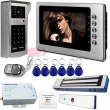 HD Video Door Phone 7 Inch TFT Monitor Electric Magnetic Door Lock+Rfid /Code Unlock IP65 Waterproof  Intercom System Kit