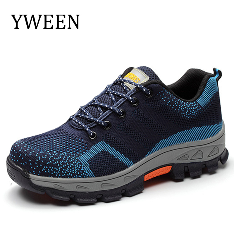 YWEEN Mesh Steel Toe Caps Work Safety Shoes Men Fashion breathable Non-slip Platform Anti-puncture Tooling Boot Men's Shoes tigergrip rubber non slip safety shoe boot cap visitor overshoe anti smashing steel toe cap boot men and women work shoes cover