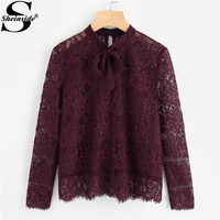 Sheinside 2017 Long Sleeve Blouse Burgundy Stand Collar Tie Neck Bow Eyelash Lace Plain Top Women