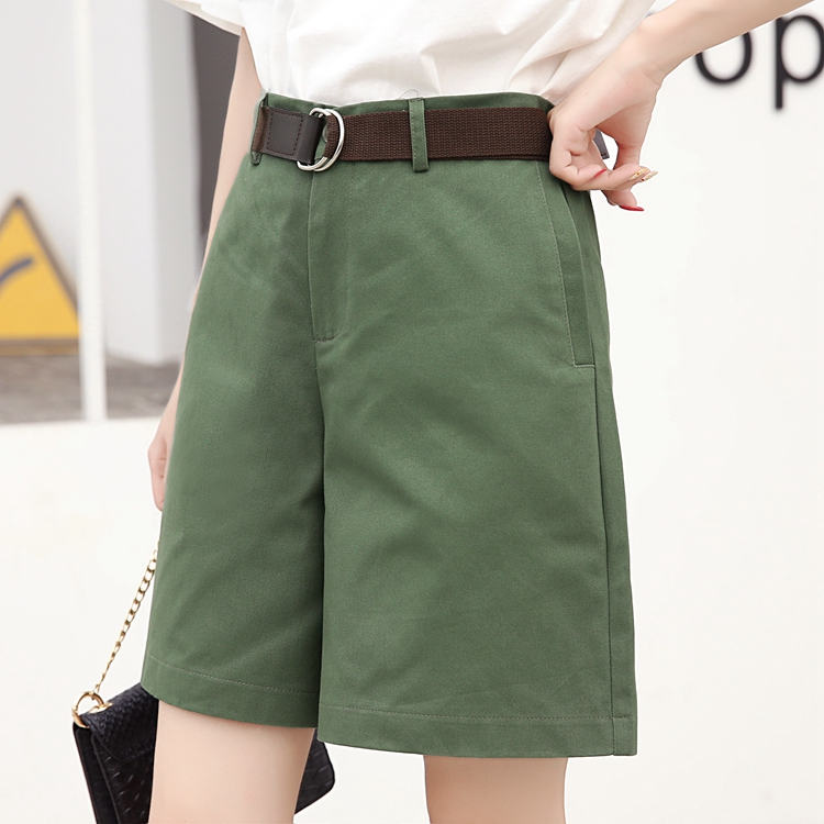Half Long Korea Style Summer Woman Casual   Shorts   Plus Size S-2XL Cotton Fashion Design Lady Casual Solid Color Khaki White