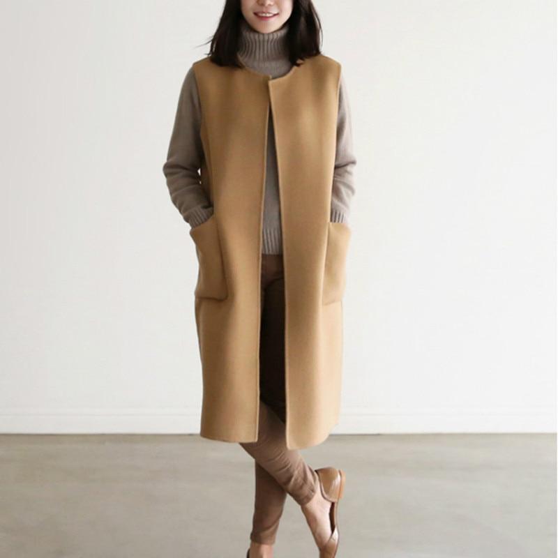 Women Autumn Spring Wool Blend Vest Waistcoat Lady Office Wear Long Coat Casual Sleeveless Jacket Plus Size