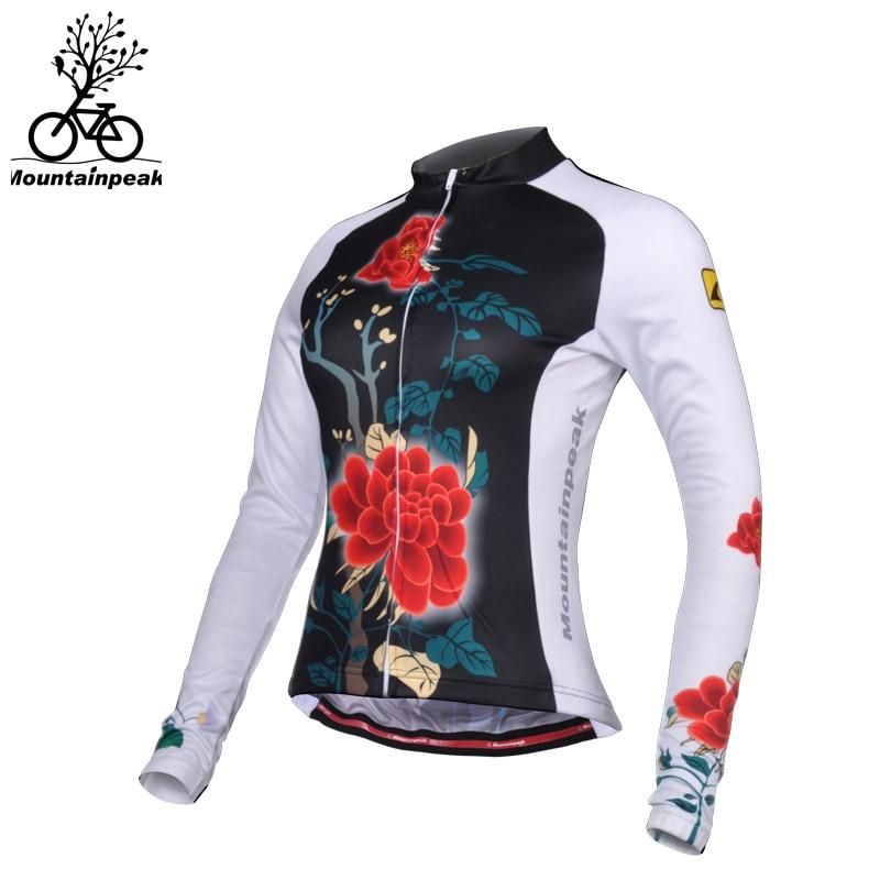 Mountainpeak 2017 Print Rose Riding Jersey Long Sleeve Female Sport Quick Dry Women Cycling Jersey Windproof Bike Clothes