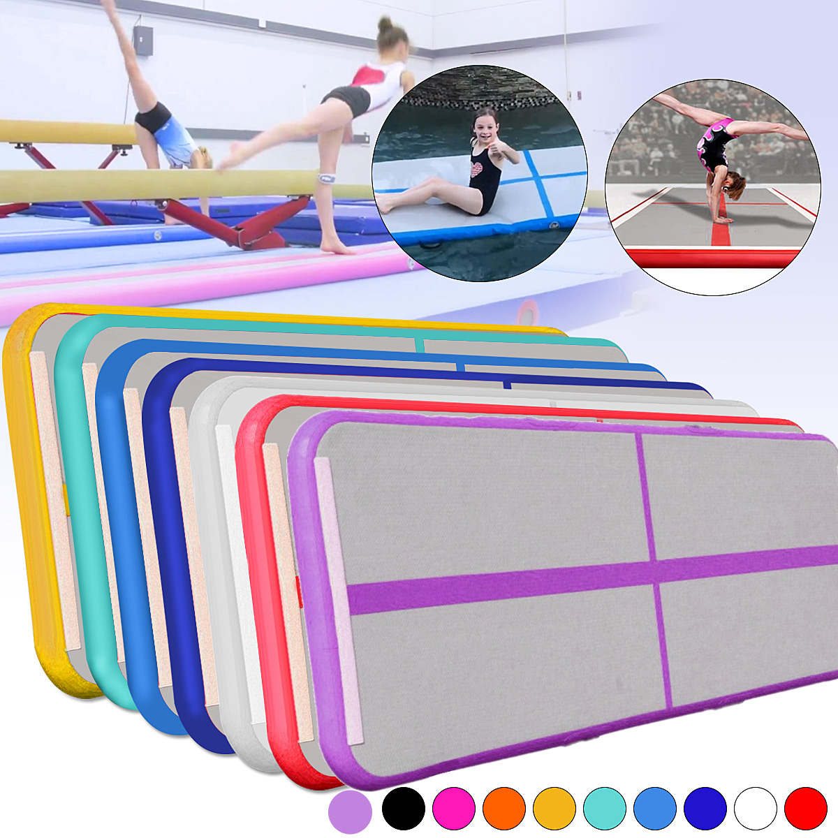Inflatable Gymnastics AirTrack Tumbling Air Track Floor Trampoline Electric Air Pump for Home Use/Training/Cheerleading/Beach free shipping 6x1x0 2m cheap inflatable gymnastics tumbling mat air floor for home use beach park and water free one pump