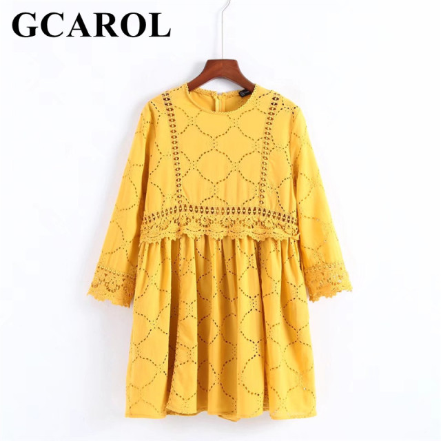 GCAROL 2018 Women Hollow Out Crochet Lace Jumpsuits High Wasited Summer Yellow Bright Color Baby-doll Playsuits With Pockets