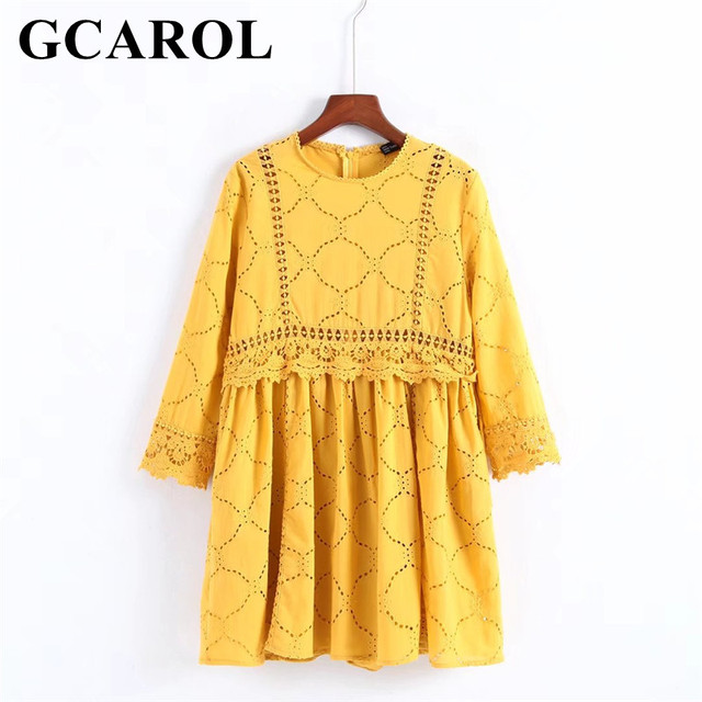 GCAROL Women Hollow Out Crochet Lace Jumpsuits High Wasited Summer Yellow Bright Color Baby-doll Playsuits With Pockets