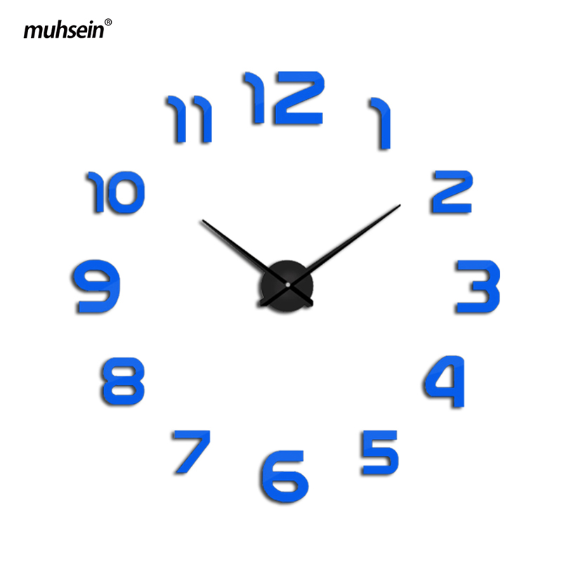 2019 muhsein Clock Watch Wall Clocks Horloge 3d Diy Acrylic Mirror Stickers Home Decoration Living Room Quartz  free shipping