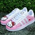 2017 Mulheres Primavera Adolescente Moda Casual Doraemon Olá Kitty Gatinho Dos Desenhos Animados Coreano Rendas Até Sapatos de Estudantes Do Sexo Feminino Apartamentos Placas G540