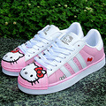 2017 Spring Women Teen Fashion Casual Doraemon Hello Kitty Kitten Cartoon Korean Lace Up Female Students Flats Boards Shoes G540