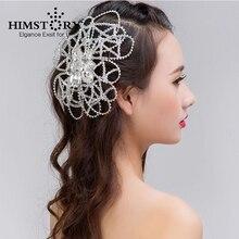 HIMSTORY Handmade Beaded Sparkling Clear Crystal Wedding Hairband Bridal Jewelry Hair Accessories Headdress