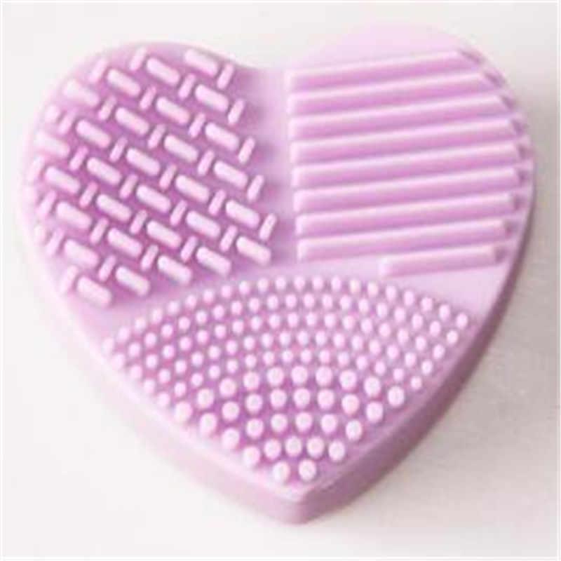 Kolorowy kształt serca czysty pędzle do makijażu szczotka do mycia krzemionka rękawica Płyta do szorowania narzędzia do czyszczenia akcesoriów kosmetycznych na pędzle do makijażu