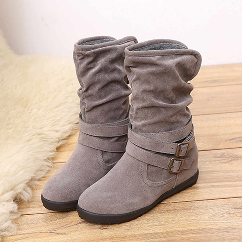 CAGACE 2018 Women Autumn Winter  Womens Boots Low Wedge Buckle Biker Trim Flat Mid Calf Boots Shoes Girls Ankle  Boots