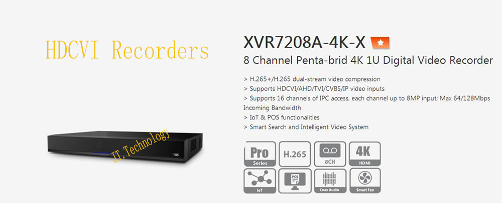 DAHUA 8 Channel Penta brid 4K 1U Digital Video Recorder IoT POS functionalities Without Logo XVR7208A