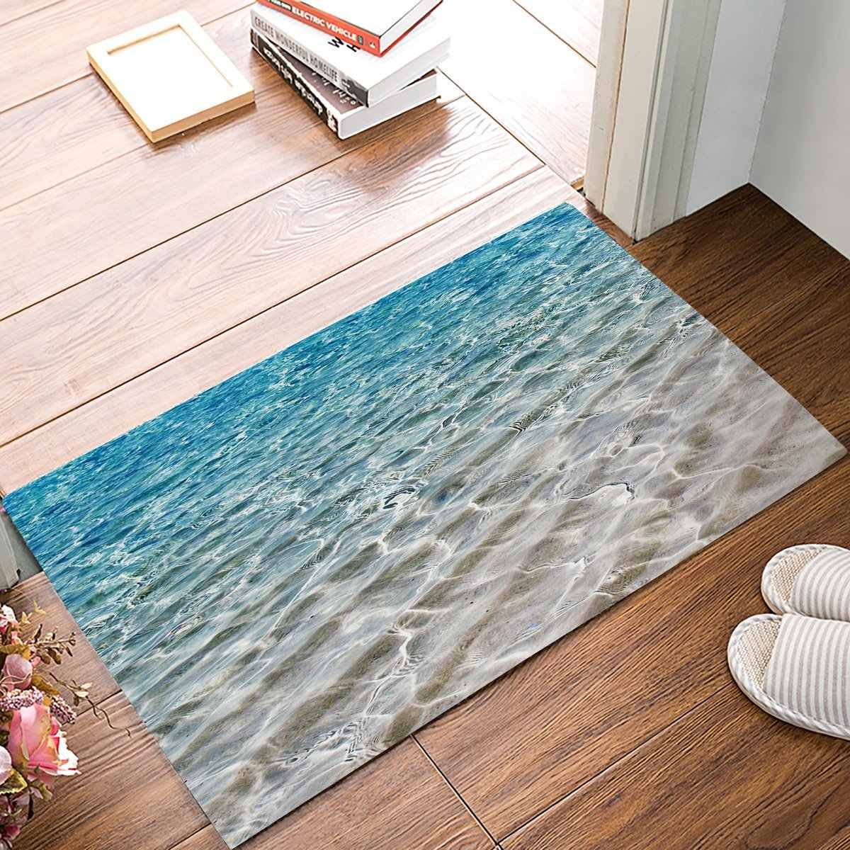 Blue Rippled Sandy Beach Sea Door Mats Kitchen Floor Bath Entryway Rug Mat Absorbent Indoor Bathroom Rubber Non Slip