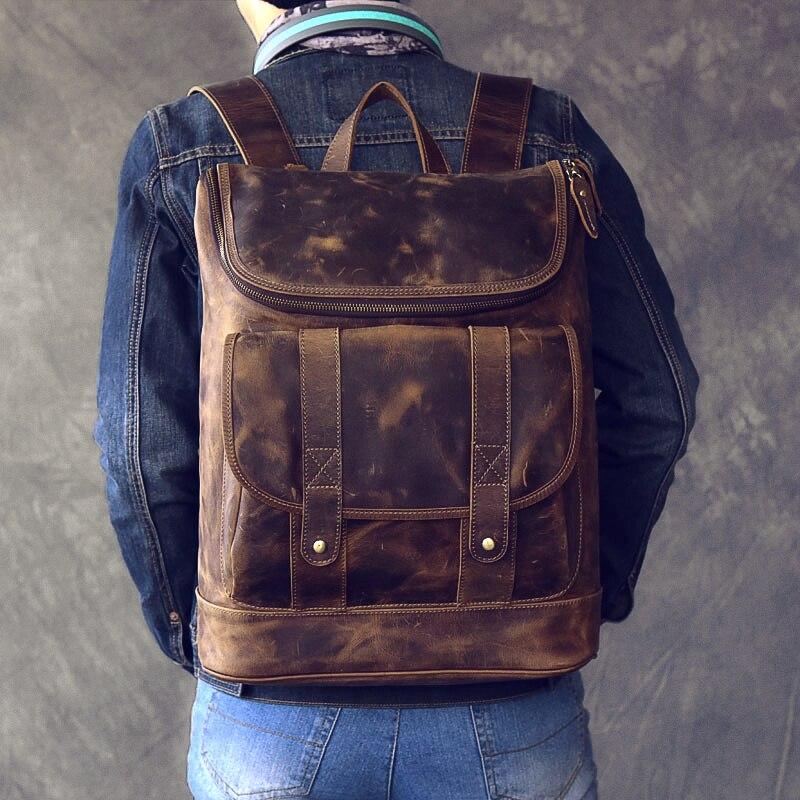 Large capacity man travel bag mountaineering backpack vintage Oil Genuine Leather bucket shoulder bag Daypack Male