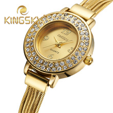 Relogio Feminino Fashion Brand Women Dress Watch gold Full Steel Analog Quartz Ladies Rhinestone Wrist watches Relojes De Marca