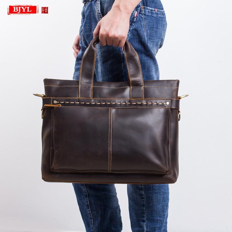 2019 Genuine Leather Men's Briefcase First Layer Leather 15.6 Inch Laptop Handbag Business Male Travel Shoulder Messenger Bags