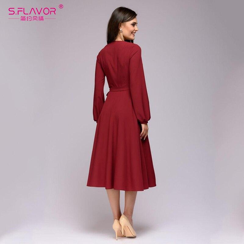 S.FLAVOR Solid Color Women A-line Dress Elegant V-neck Long Sleeve Slim Dress For Female Vintage Vestidos De