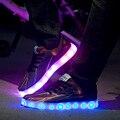 2016 DIODO EMISSOR de Luz até Sapatos Casuais Homens Moda Sapatos Brilhantes Recarregável USB LED Simulação Sapatos neon cesta krasovki Homens Formadores