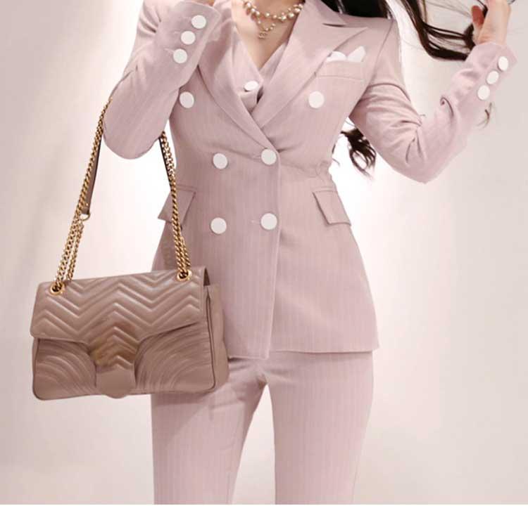2019 formel trois pièces ensemble femmes pantalon costumes col cranté rayé Blazer veste gilet pantalon poche costume de haute qualité S95506Z - 3