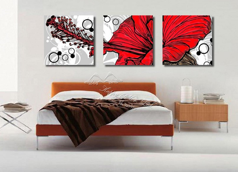 Black And White Wallpaper Bedroom Ideas 3 Panel Modern Wall Painting Home Decorative Art Picture