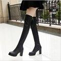 Novos 2016 Mulheres Sexy de Salto Alto Fino BootsSuede Sexy Da Forma Sobre o Joelho Botas Plataforma Mulher Sapatos Pretos