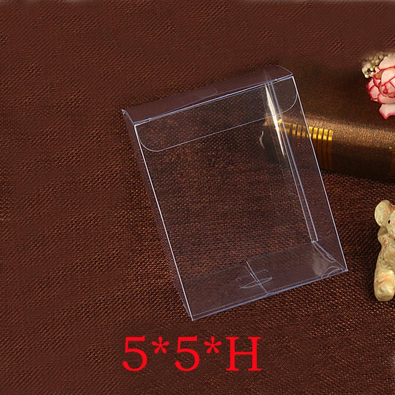 100pcs 5x5xh Jewelry Gift Box Clear Boxes Plastic Box Transparent Storage Pvc Box Packaging Display Pvc Boxen For Wed/christmas