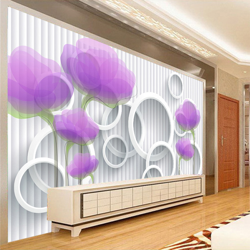Custom Photo Wallpaper Papel De Pared 3D Purple Flower Circle Stripe Mural Wall Papers Home Decor Living Room Modern Wallpaper deepak howale and kanaklata iyer metrical study of adult human skulls in maharashtra population