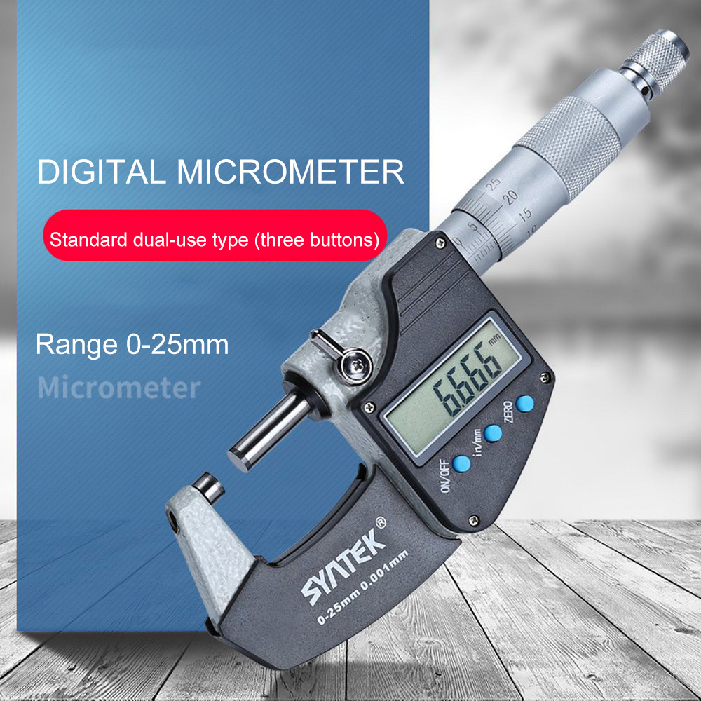 0,001 мм электронный цифровой микрометр 0-25 мм 3 кнопки метрический/дюймовый электронный Внешний диаметр микрометра твердосплавный инструмен...