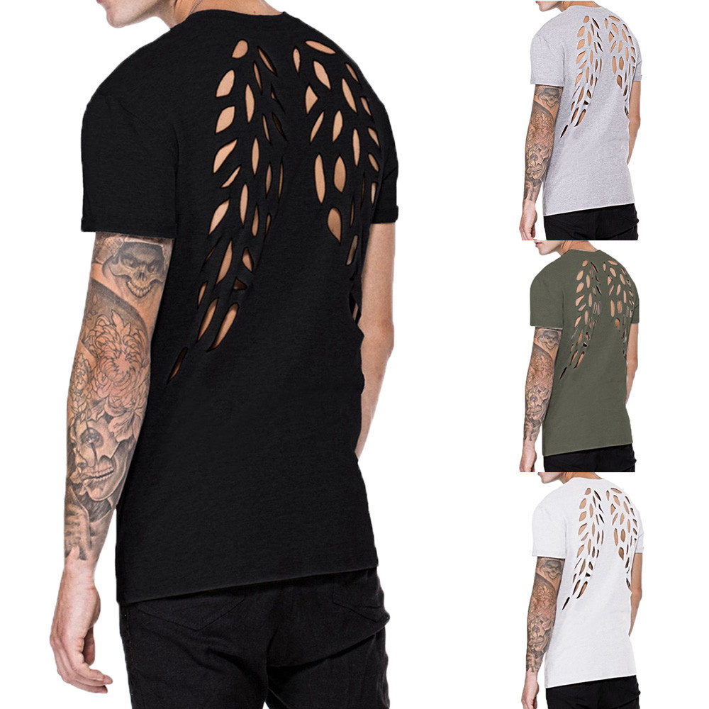 Men's blouse Fashion Personality Men's Casual Wing Short-sleeved Shirt Top Blouse Men Clothings