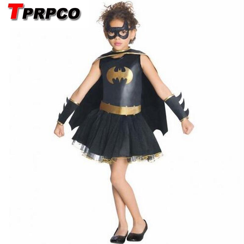 TPRPCO Summer Style Girls Batman Superhero Halloween Cosplay Costume Fantasia Vestido Tutu Dress Kid Carnival Party NL145
